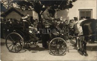 1917 Gyöngyös, a Király látogatása a nagy tűzvész után május 23-án, IV. Károly és felesége Zita királyné hintón. photo