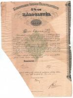 1912. Budapest Kisbirtokosok Országos Földhitelintézete 5%-os záloslevél 1000K-ról szárazpecséttel, T:III beszakadások, fo., hiányos, ázásnyom