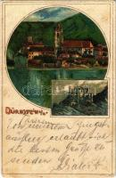 1900 Dürnstein, Die Ruine / castle ruins. Art Nouveau, litho s: Rosenberger (fl)