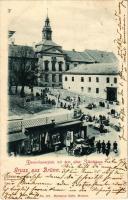 1900 Brno, Brünn; Dominikanerplatz mit dem alten Ständehaus / square, market, shops (EB)