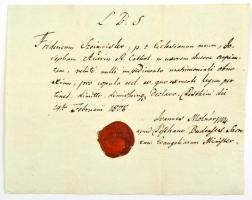 1808 Pest-Buda, evangélikus házasságengedélyező levél, latin nyelven, az egyházkerület viaszpecsétjével, hátulján későbbi feljegyzésekkel