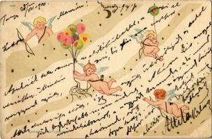 1900 La Chasse Aux Coeurs 1048. / Art Nouveau puttos. litho, unsigned Raphael Kirchner