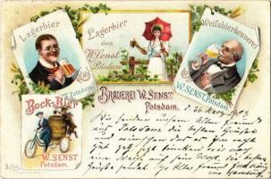 1903 Brauerei W. Senst, Potsdam. Lagerbier, Bock-Bier, Weissbierbrauerei / German beer advertisement, brewery. Art Nouveau, floral, litho s: B. Holz
