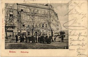1901 Brno, Brünn; bahnring / railway street, shops of Olga Reich and Josef Novaty (EK)