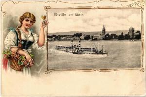 1908 Eltville am Rhein. Dampfer / steamship. Lady, folklore Emb. litho