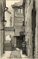 Tallinn, Reval; Treppenstrasse, Aufgang zur Nicolai Kirche, Typographie (Trükikoda) / stair street, printing shop (fa)