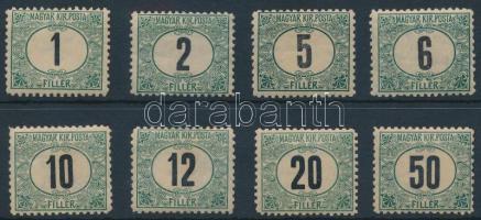 1903 Zöldportó I. B sor (540.000) (2f, 10f ráncok, 50f falcos) / Mi 1-8 B (2f, 10f creases, 50f hinged)