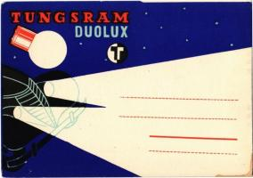 Tungsram Duolux izzó reklámlapja / Hungarian light bulb advertisement postcard s: Macskássy