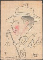 Olvashatatlan jelzéssel: Cserkész karikatúra. Vegyes technika, papír, kisebb szakadásokkal, 35×25 cm