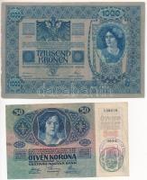 1902. 1000K + 1914. 50K, mindkettő hamis Csanád Vármegye Nagylak Község 1908 felülbélyegzéssel (fake overprint) T:III
