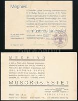 1935-1936 Bp., Deák-téri Luther Szövetség cserkészcspatai és öregcserkészcsapatának műsoros táncestjeinek meghívói, az egyiken cserkész bélyegzéssel.