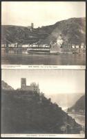 1903 Rhein-Ansichten, Steiglitz berlini fényképész 10 db vintage fotója, feliratozva, az egyik kép szélén szakadás, hozzáadva a szintén sérült tároló tasakot, 19x24,2 cm