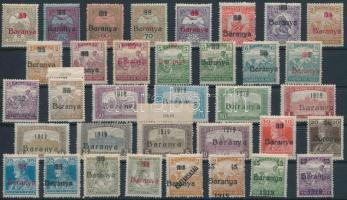 Baranya I. 1919 41 klf bélyeg 2 stecklapon, közte tévnyomatok, minden érték Bodor vizsgálójellel (34.950)