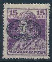 Debrecen I. 1919 Károly 15f fekete felülnyomással, Bodor vizsgálójellel (32.500)