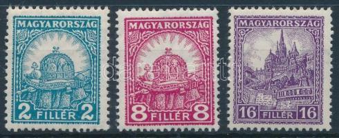 1928 Pengő-fillér (II.) 2f, 8f, 16f 14 : 14 3/4 fogazással (5.000) (ráncok / creases)