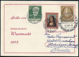 1953 Emléklap 3 db bélyeggel