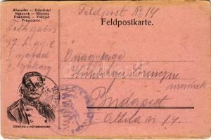 1915 Első világháborús tábori postai levelezőlap Conrad v. Hötzendorf vezérkari főnök arcképével / WWI K.u.K. military field post postcard, Franz Conrad v. Hötzendorf, Chief of the General Staff. Feldpostkarte + Tábori Postahivatal 14 (kopott sarkak / worn corners)