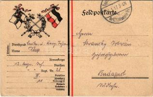 1917 Feldpostkarte / WWI German military field postcard, German flags (EK)