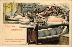1914 Gruss aus Lindewiese! Traum eines Lindewieser Kurgastes / Greeting from Lipová-lázne! Dream os a spa guest. Art Nouveau humour with angels