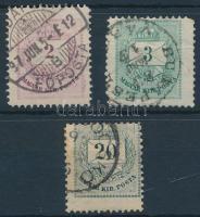 1881 3 db látványosan elfogazott és / vagy ívszélről származó bélyeg
