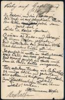 1897 Gilbert Otto Neumann-Hofer (1857-1941) német újságíró, író, színházigazgató verses autográf és Max Halbe (1865-1944) német drámaíró aláírásával is ellátott levele Gerő Ödönnek (1863-1939) író, esztéta, szerkesztőnek, német nyelven. A versben Gerő és Ödön név humoros fordulatokban többször előfordul. Emellett említik Rakosi (Rákosi Viktor vagy Jenő?) és Berenyi nevét. Hajtott levelezőlap / 1897 Autograph poetic letter in rhymes of Gilbert Otto Neumann-Hofer (1857-1941) German jurnalist, writer and Theatre-director with the autograph signature of Max Halbe (1865-1944) German dramatist and main exponent of Naturalism to Hungarian writer, esthetist and journalist, Ödön Gerő. Bent.