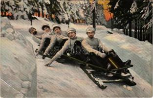 1910 Five-man controllable bobsleigh, winter sport. T. Co. 2052. (EB)