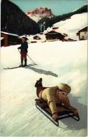 Ski and ice skeleton sled, winter sport. N.Z.G. Serie V. No. 727.