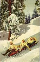 1913 Four-man bobsleigh, bobsled, winter sport. N.Z.G. Serie 59. No. 2088. (EK)
