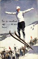 1915 Skiing man, winter sport art postcard. A.S.M. Serie 556. s: O. Merté (EK)