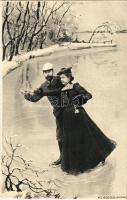 Ice skating romantic couple, winter sport. No. 832. s: Ch. Scolik