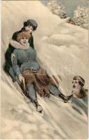Sledding people, winter sport. Verlag Sect (fa)