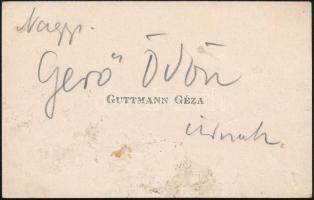 1913 Guttmann Géza, Hermann Lipót, Fényes Adolf, Petrovics Elek, Iványi-Grünwald Béla és Ernst Lajos által saját kézzel aláírt névjegykártya születésnapi jókívánsággal Gerő Ödönnek (1863-1939) a Pester Lloyd újságírójának, műkritikusnak
