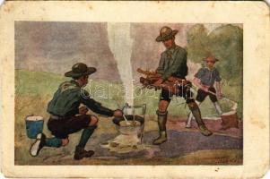Fő a gulyás! Cserkész művészlap. A Magyar Lapvállalat kiadása. Apostol nyomda / Hungarian boy scout art postcard, campfire cooking s: Juszkó (EM)