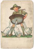 Cserkész művészlap. A Magyar Cserkészszövetség kiadása / Hungarian boy scout art postcard s: Márton L. (b)