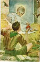 1941 Cserkész művészlap. Márton L.-féle Cserkészlevelezőlapok Kiadóhivatala / Hungarian boy scout art postcard s: Márton L. (b)