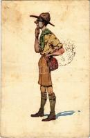 Dr. Hőmérnök. Cserkész művészlap. A Magyar Lapvállalat kiadása. Apostol nyomda / Hungarian boy scout art postcard, medic (fa)