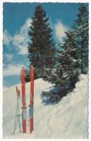 God Jul / modern Norwegian Christmas and New Year greeting winter sport minicard, ski in the snow (6,8 cm x 10,8 cm)