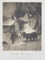 cca 1900 Schlechte Musikanten, Carl Reichert pinx-Photogravure Bruckmann, München, Union, nyomat, üvegezett fakeretben, foltos, 15x12 cm, 34x28 cm