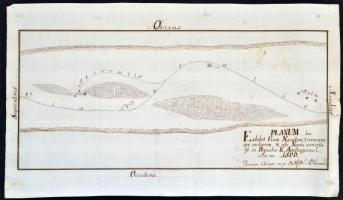 1800 Apostag Duna szabályozási tervrajza, 22×38 cm