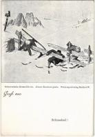 Schneeheil! Schneeschuhe, Rennwölfe etc. Ski, winter sport art postcard. Wintersportverlag, Berlin SW. 46. (EK)