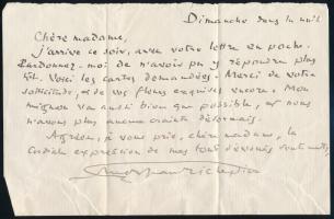 Jean Richepin, (1849-1926) francia költő, író és drámaíró autográf üdvözlő levele ismeretlen hölgynek / Autograph letter of French poet, novelist Jean Richepin, (1849-1926)