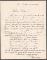 1892 Kozma Andor. (1861-1933) Költő, műfordító autográf levele Gerő Ödön (VIharosnak) (1863-1939) melyben saját versét is idézve megköszöni méltató kritikáját.