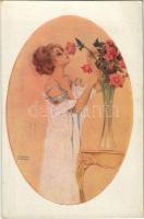 Rose respirant une femme. Gently erotic art postcard. Marque L-E. Paris 45. s: Raphael Kirchner