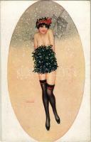 Le Manchon de Gui. Gently erotic art postcard. Marque L-E. Paris 16. s: Raphael Kirchner