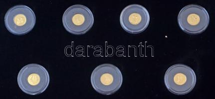2010-2020. A világ legkisebb arany érméi 23db-os aranyérme gyűjteménye klf országok darabjaival, fa díszdobozban nagyítóval, magyar nyelvű tanúsítványokkal (0,5g/0,999/11mm) T:PP 2010-2020. The Smallest Gold Coins of the World collection of 23 gold coins in wooden collectors case from different countries, with magnifying glass and with Hungarian certificates (0,5g/0,999/11mm) C:PP