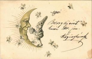 1901 Moon and dwarf greeting art postcard, Emb. litho