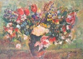 Monos József (1932-2013): Virágcsendélet. Olaj, farost, jelzett, díszes üvegezett keretben, 50×70 cm