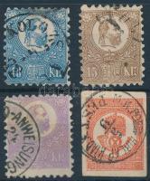1871 Kőnyomat 10kr, 15kr, 25kr és Hírlapbélyeg vegyes minőség / 4 mixed quality stamps (108.000)