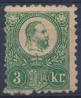1871 Réznyomat 3kr eredeti gumival, falcnyomokkal (27.500)