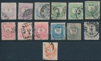 1874 12 db Színes számú krajcáros bélyeg változatokkal + 1 Hírlapbélyeg